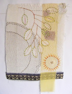 Leaves and Plate by Dorothy Tucker 2012. 45 x 33 x 0.02 cm. A contemporary take on kantha referencing woven saris borders and the coloured stripes sometimes sandwiched between folded layers of cloth.